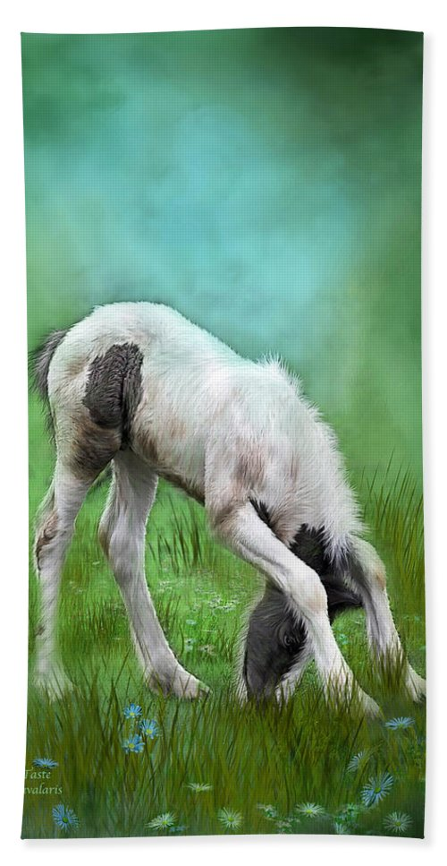 Foal Beach Towel featuring the mixed media First Taste by Carol Cavalaris