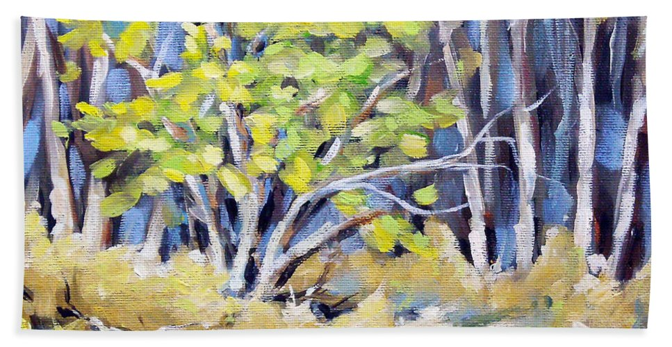 Art Beach Towel featuring the painting First Touch Of Spring by Richard T Pranke