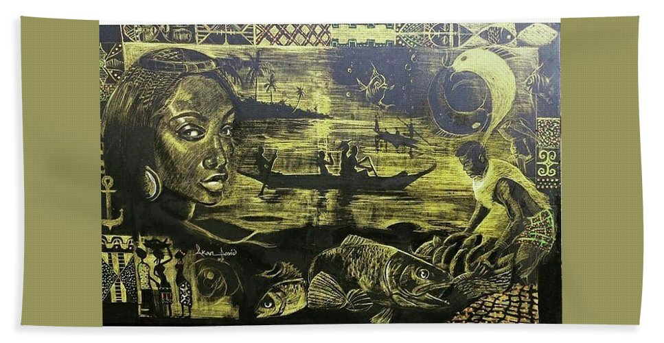 African Cultur Beach Towel featuring the painting Fish Er Mans Daughter by Akan David