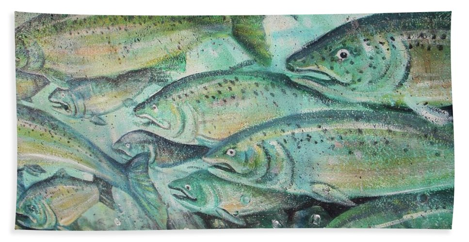 Fish Beach Towel featuring the photograph Fish On The Wall by Vesna Antic