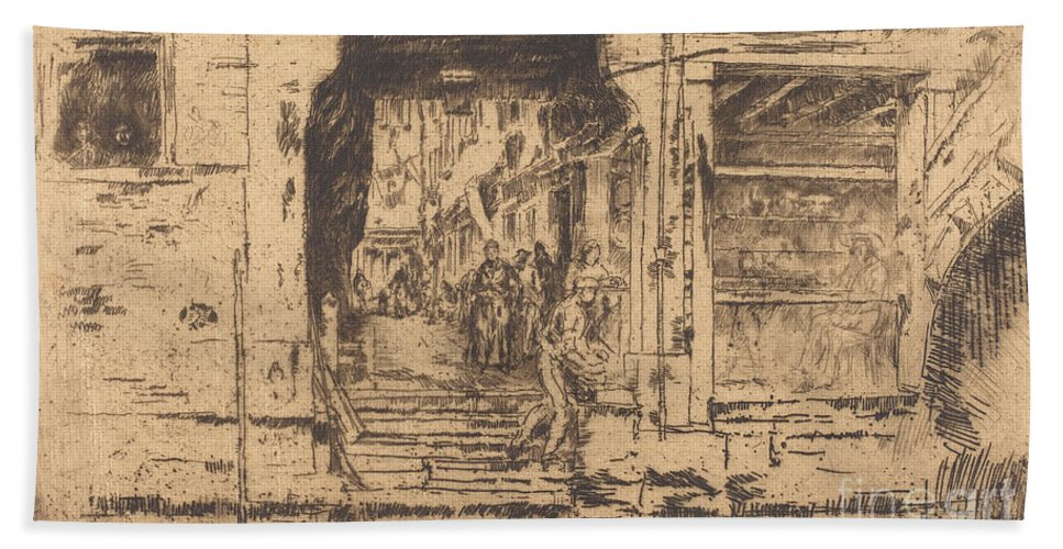 Beach Towel featuring the drawing Fish-shop, Venice by James Mcneill Whistler