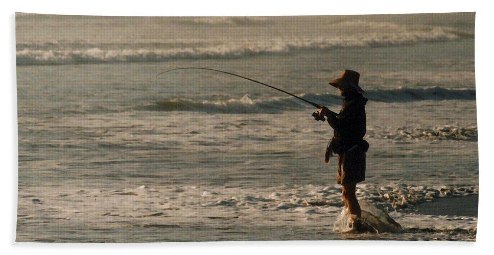 Fisherman Beach Towel featuring the photograph Fisherman by Steve Karol