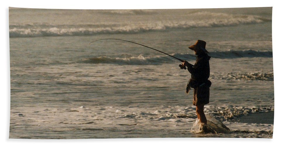 Fisherman Beach Sheet featuring the photograph Fisherman by Steve Karol