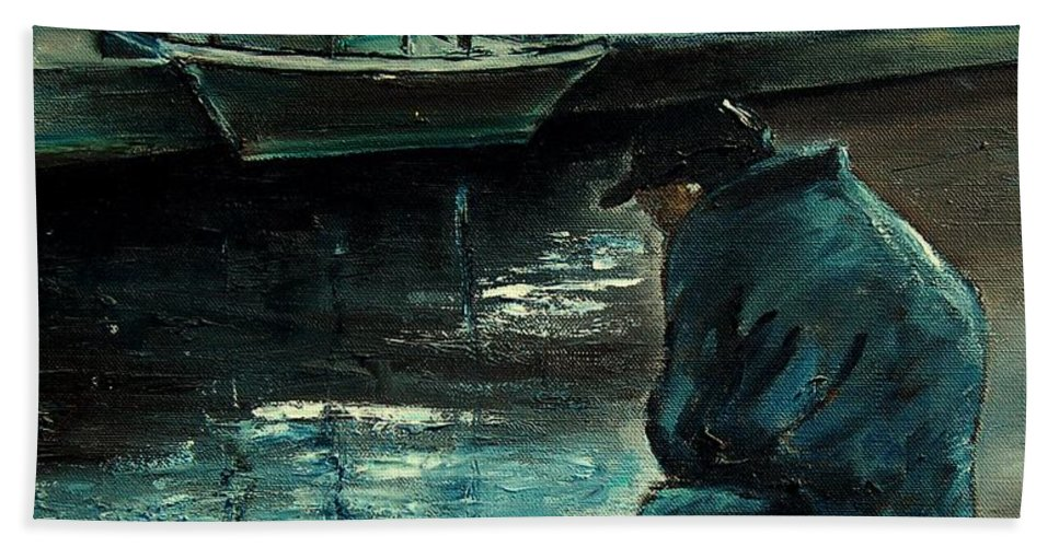 Figurative Beach Towel featuring the painting Fisherman's Patience by Pol Ledent