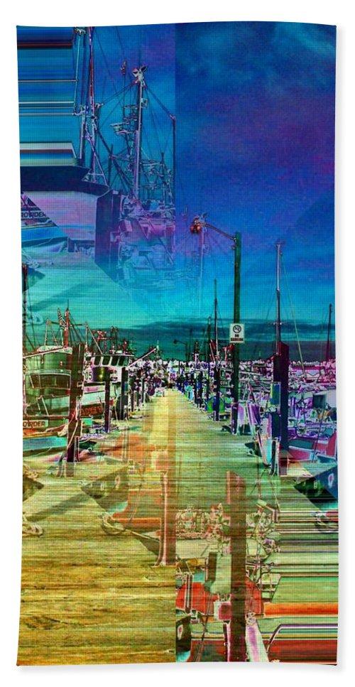 Seattle Beach Towel featuring the digital art Fishermans Terminal Pier 2 by Tim Allen