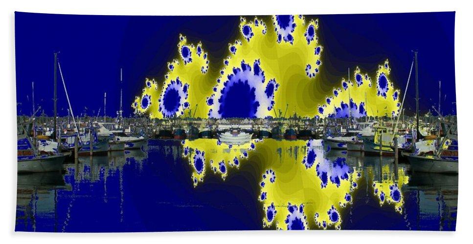 Seattle Beach Towel featuring the digital art Fishermans Terminal by Tim Allen