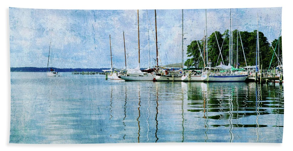 Beach Towel featuring the photograph Fishing Bay Reflections by Guy Crittenden