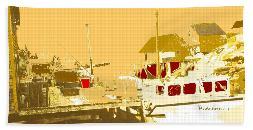 Red Beach Towel featuring the photograph Fishing Boat At The Dock by Ian MacDonald