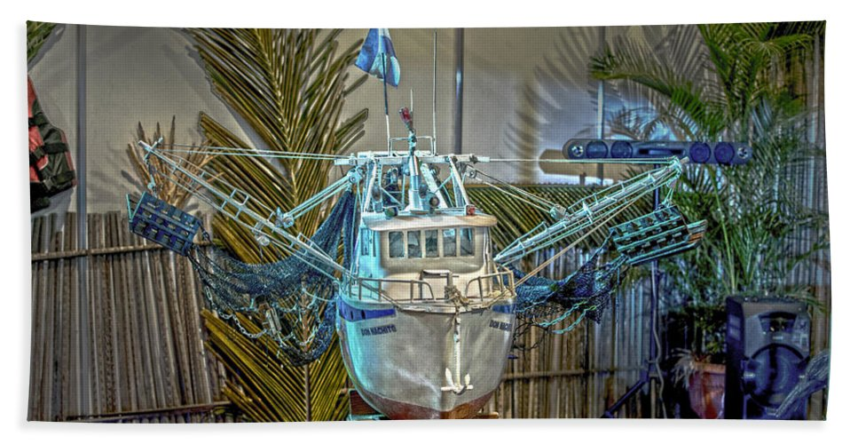 Fishing Boat Beach Towel featuring the photograph Fishing Boat Hdr 1 by Totto Ponce