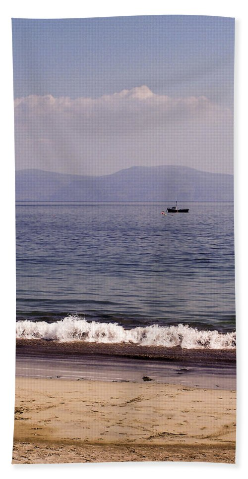 Irish Beach Towel featuring the photograph Fishing Boat On Ventry Harbor Ireland by Teresa Mucha