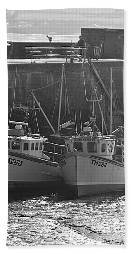 Fishing Boats Beach Sheet featuring the photograph Fishing Boats by Andy Thompson
