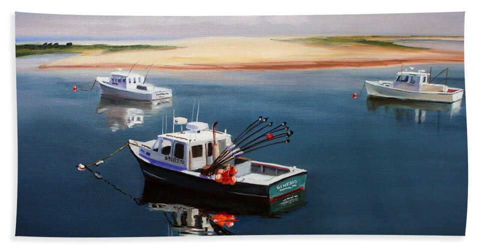Fishing Boats Beach Towel featuring the painting Fishing Boats-cape Cod by Paul Walsh