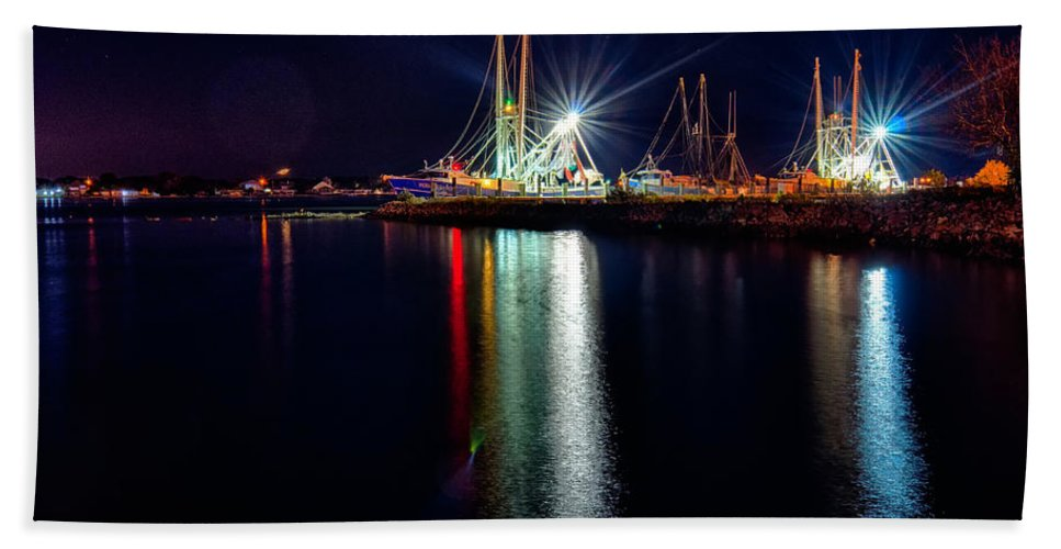 Night Beach Towel featuring the photograph Fishing Boats In Marina At Night by Alex Grichenko