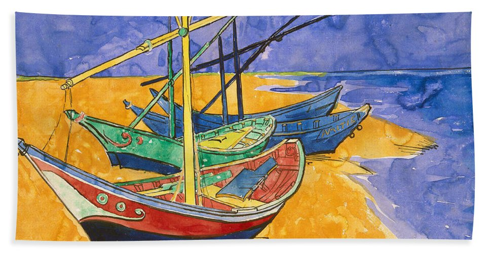 Vincent Van Gogh Beach Towel featuring the painting Fishing Boats on the Beach at Saintes Maries de la Mer by Vincent Van Gogh