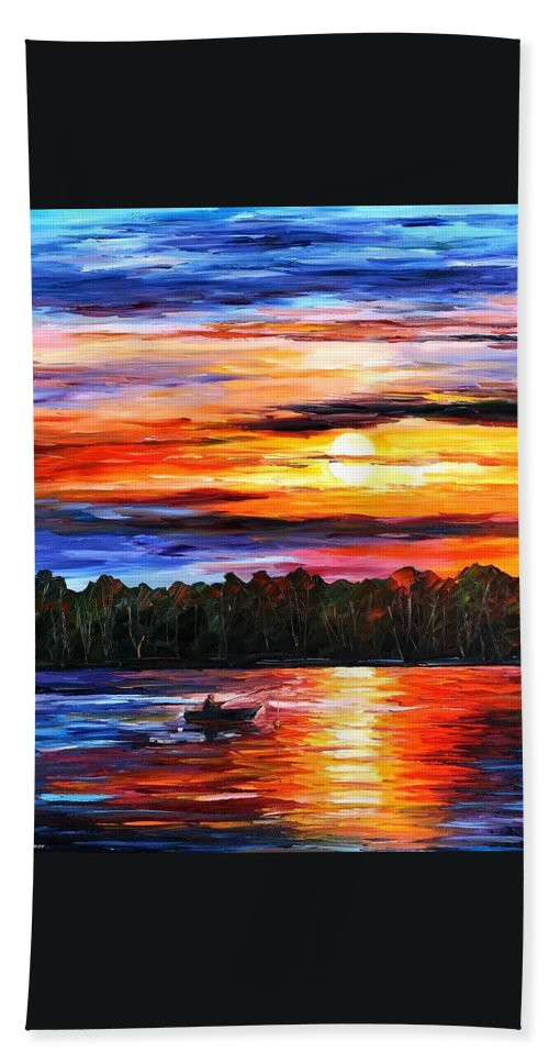 Afremov Beach Towel featuring the painting Fishing By Sunset by Leonid Afremov
