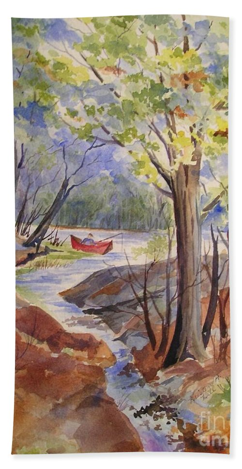 Fishing Beach Towel featuring the painting Fishing Fun by Kristen Anderson Hill