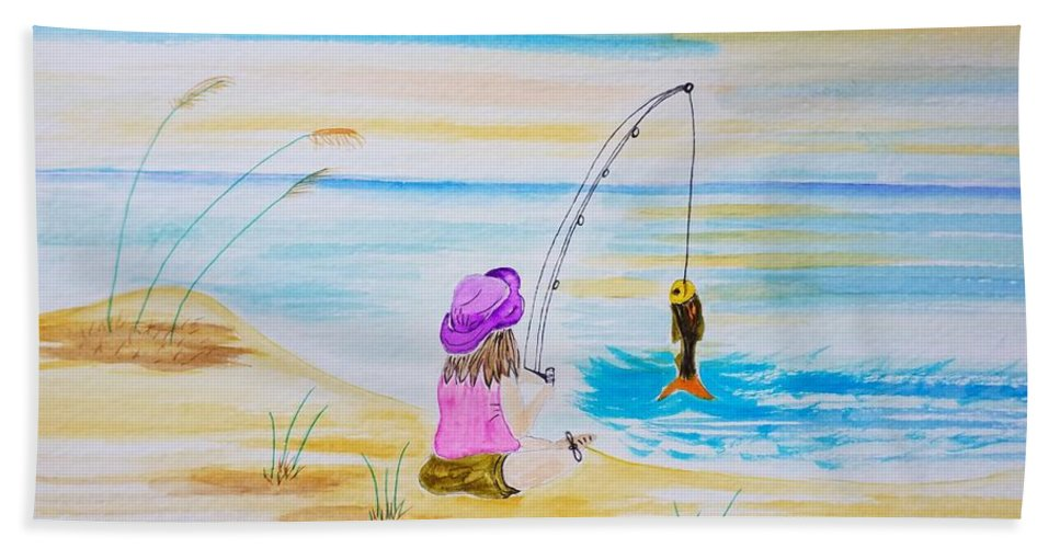 Watercolor Beach Towel featuring the painting Fishing Girl by Shelley Smith