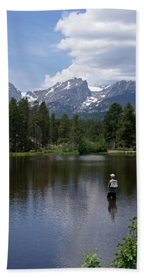 Fishing Beach Towel featuring the photograph Fishing In Colorado by Heather Coen