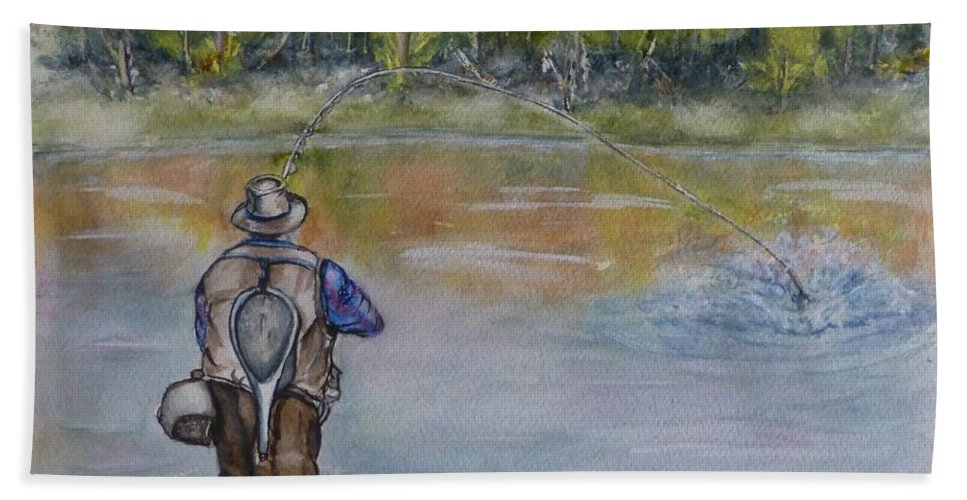 Fishing Beach Towel featuring the painting Fishing In Natures Beauty by Kelly Mills