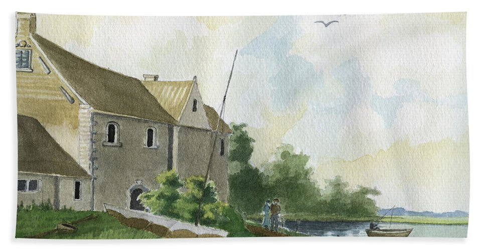 Lake Beach Sheet featuring the painting Fishing Lake by Alban Dizdari
