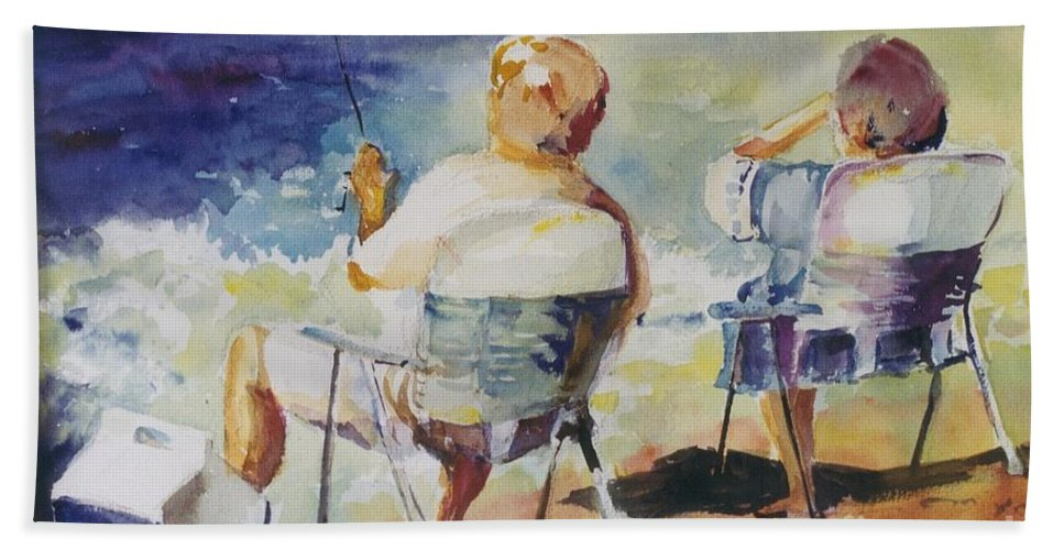 Watercolor Custom Art Painting Fishing Fishermen Couple Beach Ocean Beach Towel featuring the painting Fishing Together by Maggie Clark