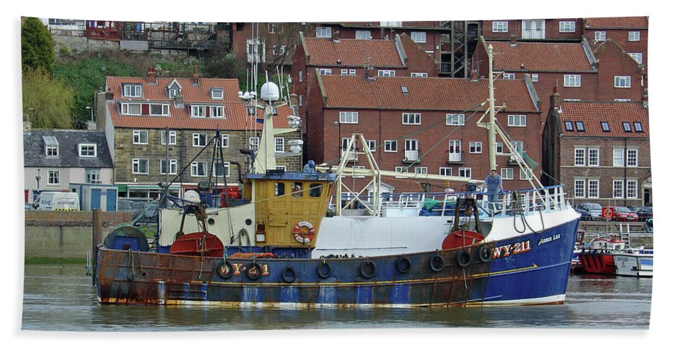 Outdoors Beach Towel featuring the photograph Fishing Trawler - Whitby by Rod Johnson