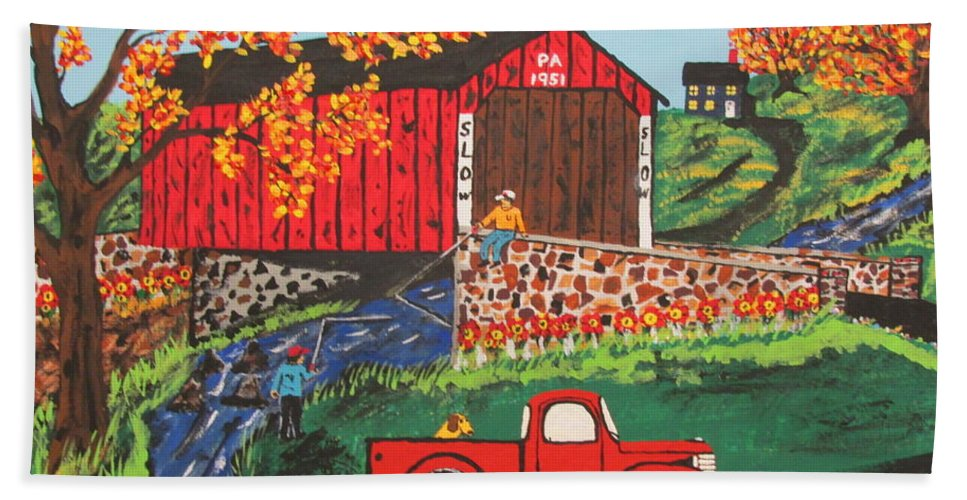 Country Art Beach Towel featuring the painting Fishing Under The Covered Bridge by Jeffrey Koss