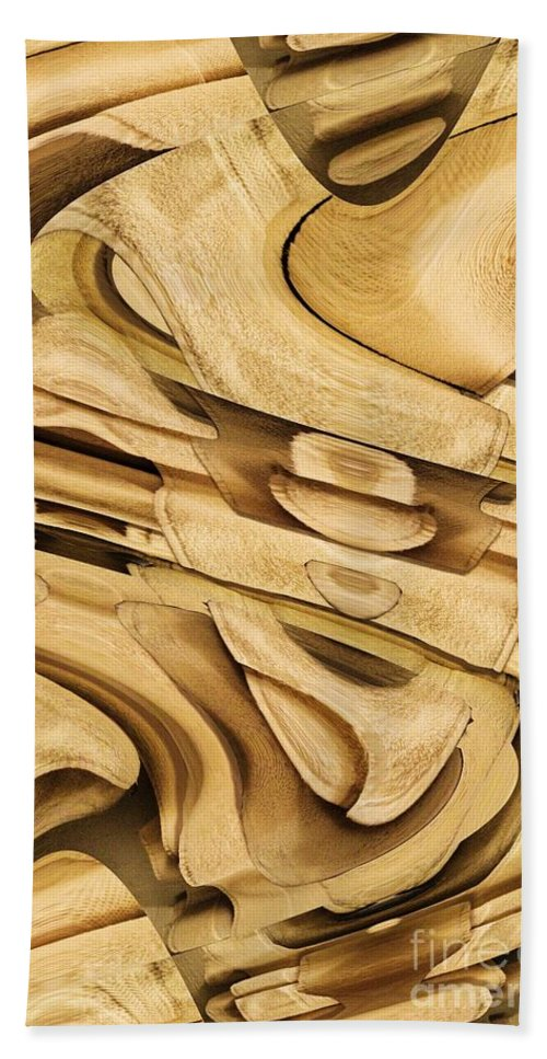 Abstract Beach Towel featuring the digital art Fitted Wood by Ron Bissett