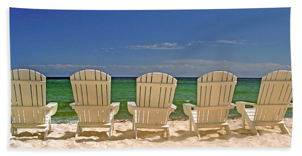 Adirondack Beach Towel featuring the photograph Five Chairs On The Beach by John Harmon