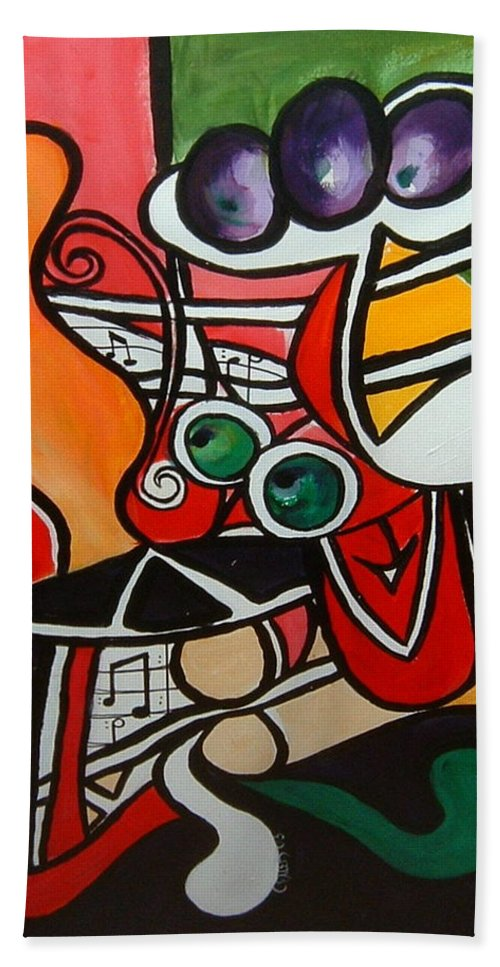 Abstract Beach Sheet featuring the painting Five O' Clock With Picasso by Cheryl Ehlers
