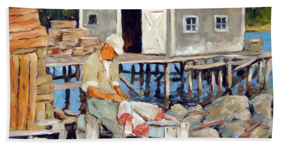 Fishing Boats Beach Towel featuring the painting Fixing Floats by Richard T Pranke