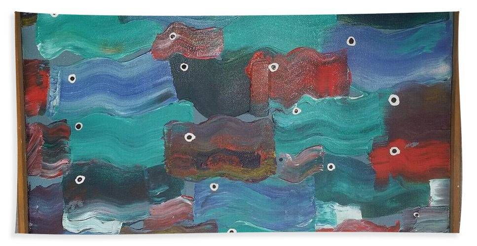Water Beach Towel featuring the painting Flag Fish by Peter Nervo