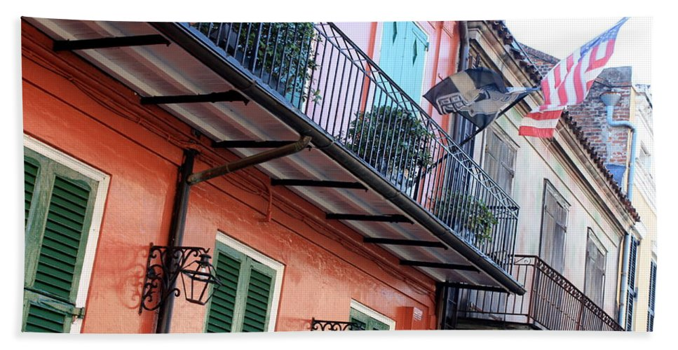 New Orleans Beach Towel featuring the photograph Flags On The Balcony by Carol Groenen