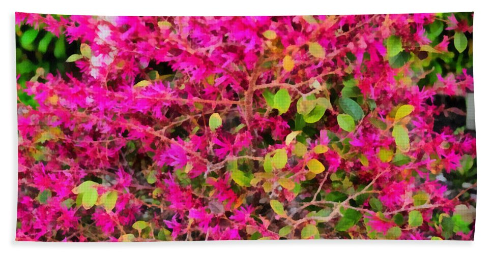 Flame Beach Towel featuring the painting Flame Bush by Paulette B Wright