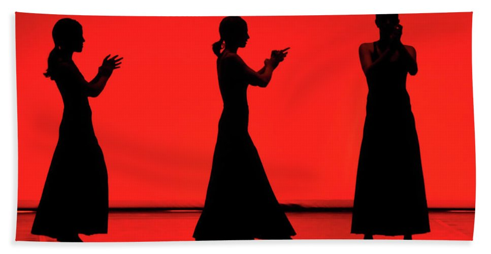 Red Beach Towel featuring the photograph Flamenco Red An Black Spanish Passion For Dance And Rithm by Pedro Cardona Llambias