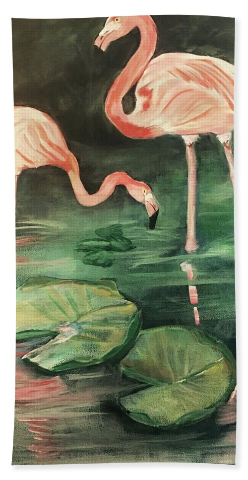 Flamingos Beach Towel featuring the painting Flamingos by Janet Easley