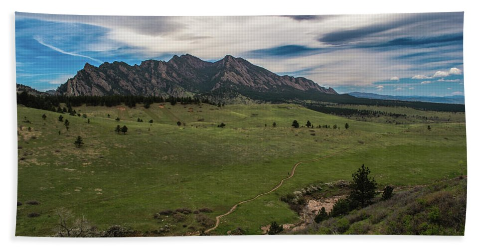 Artisans Beach Towel featuring the photograph Flatirons From South Trails by Cary Leppert