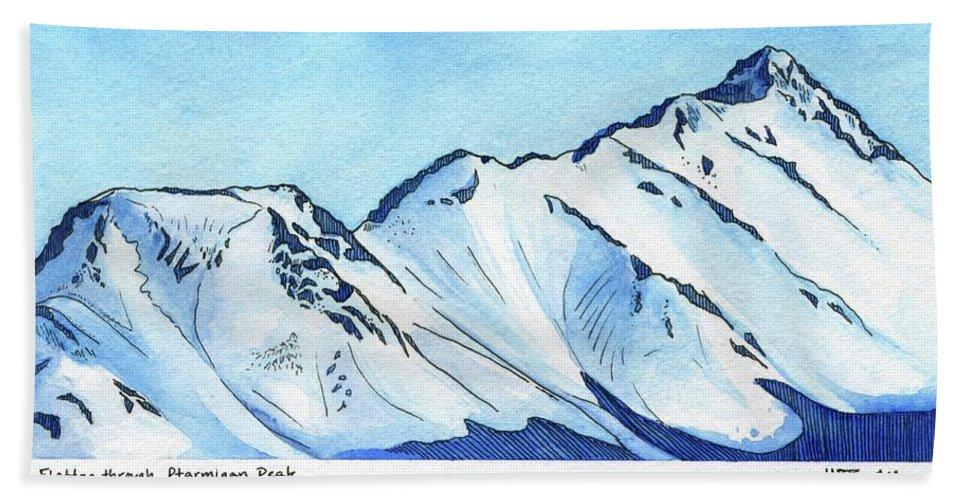Watercolor Beach Sheet featuring the painting Flattop Through Ptarmigan Peak, Alaska by Melissa Burke