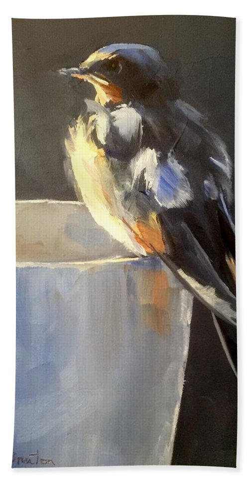 Bird Beach Towel featuring the painting Fledgling by Gary Bruton