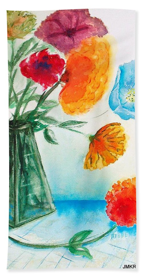 Floral Beach Towel featuring the painting Fleur Primitiv by Judith Kerrigan Ribbens
