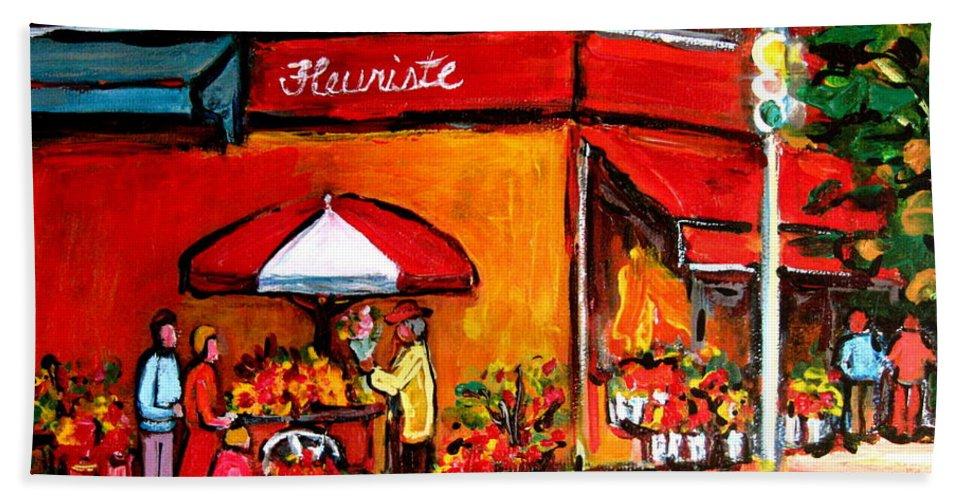 Fleuriste Bernard Florist Montreal Beach Towel featuring the painting Fleuriste Bernard Florist Montreal by Carole Spandau