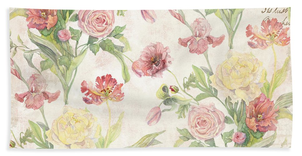 Peony Beach Towel featuring the painting Fleurs De Pivoine - Watercolor In A French Vintage Wallpaper Style by Audrey Jeanne Roberts