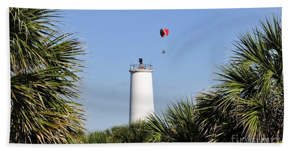 Flying Beach Towel featuring the photograph Flight Over Egmont Key by David Lee Thompson