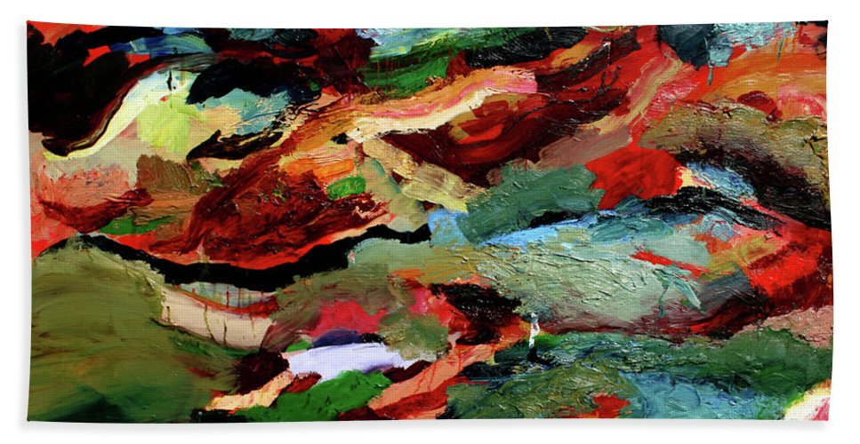 Abstract Beach Towel featuring the painting Fling by Scott Dykema