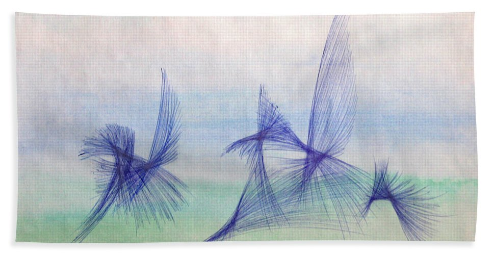 Abstract Beach Towel featuring the mixed media Float by Steve Karol
