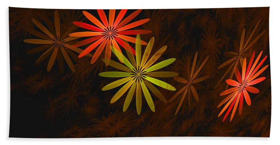 Digital Photography Beach Towel featuring the digital art Floating Floral-008 by David Lane