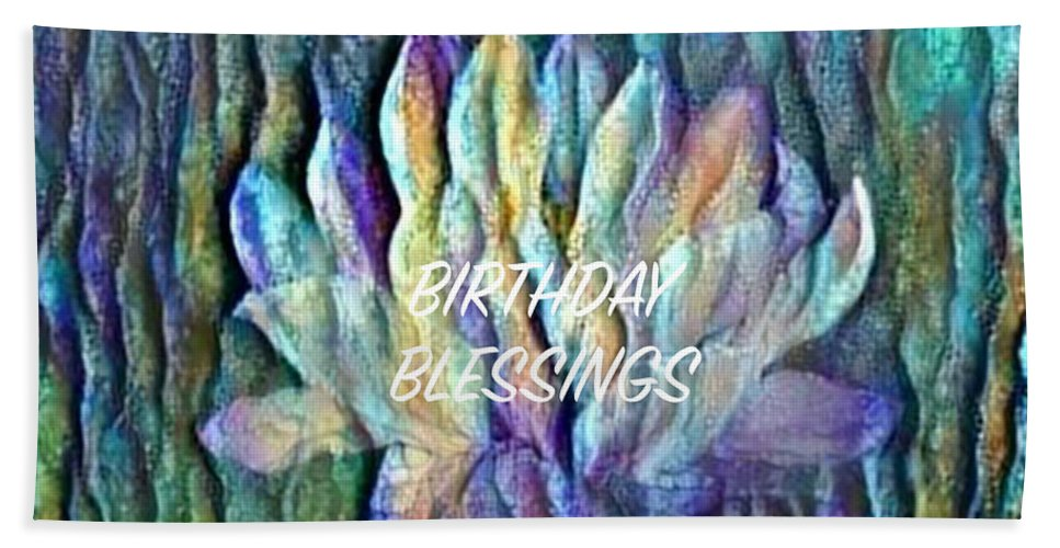 Floating Lotus Beach Towel featuring the digital art Floating Lotus - Birthday Blessings by Artistic Mystic