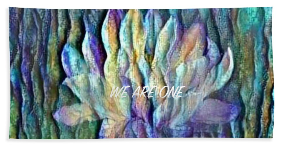 Floating Lotus Beach Towel featuring the digital art Floating Lotus - We Are One by Artistic Mystic