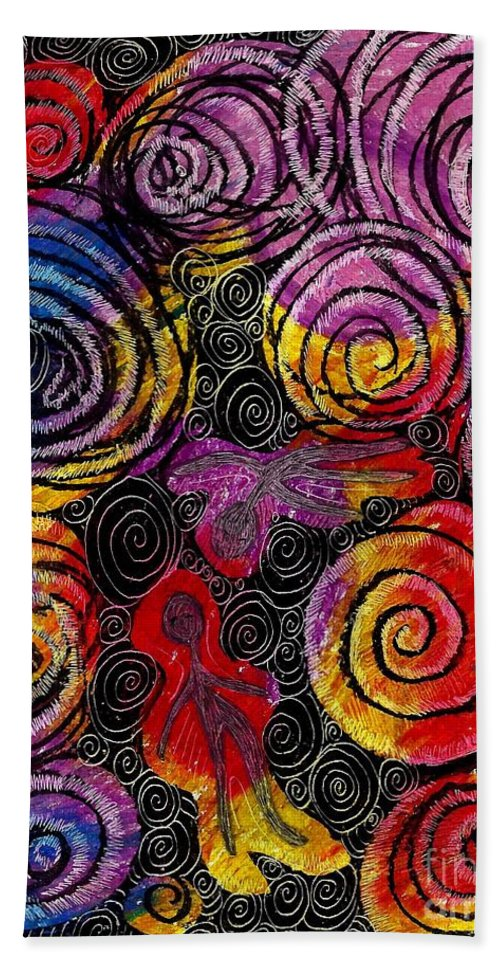 Abstract Beach Towel featuring the drawing Floating by Sarah Loft