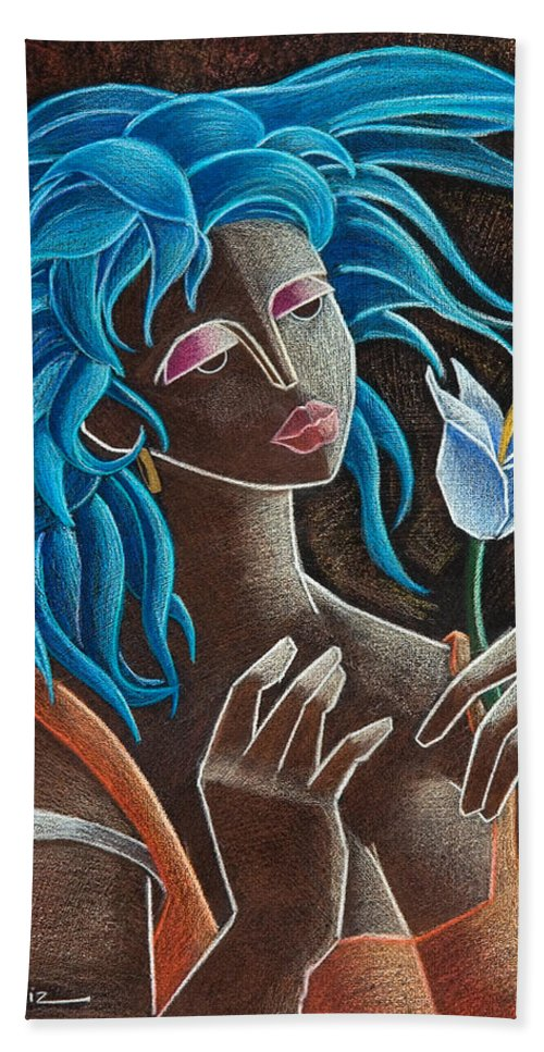 Puerto Rico Beach Towel featuring the painting Flor Y Viento by Oscar Ortiz